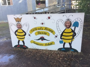 Jill and I buzzing around the honey farm.